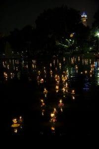 Krathong floating in Bangkok