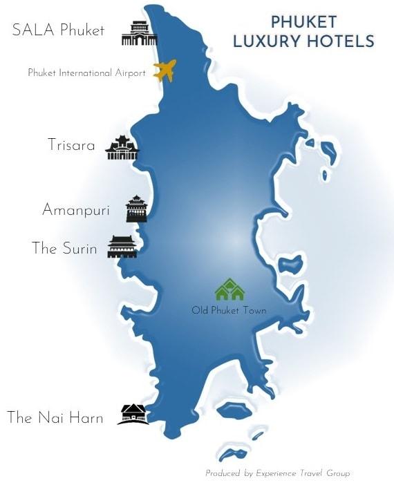 blue map of Phuket showing luxury hotel locations