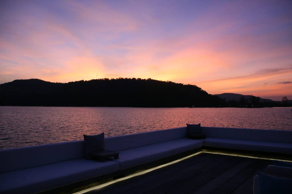 Sunset at Song Saa private island resort off the coast of Cambodia