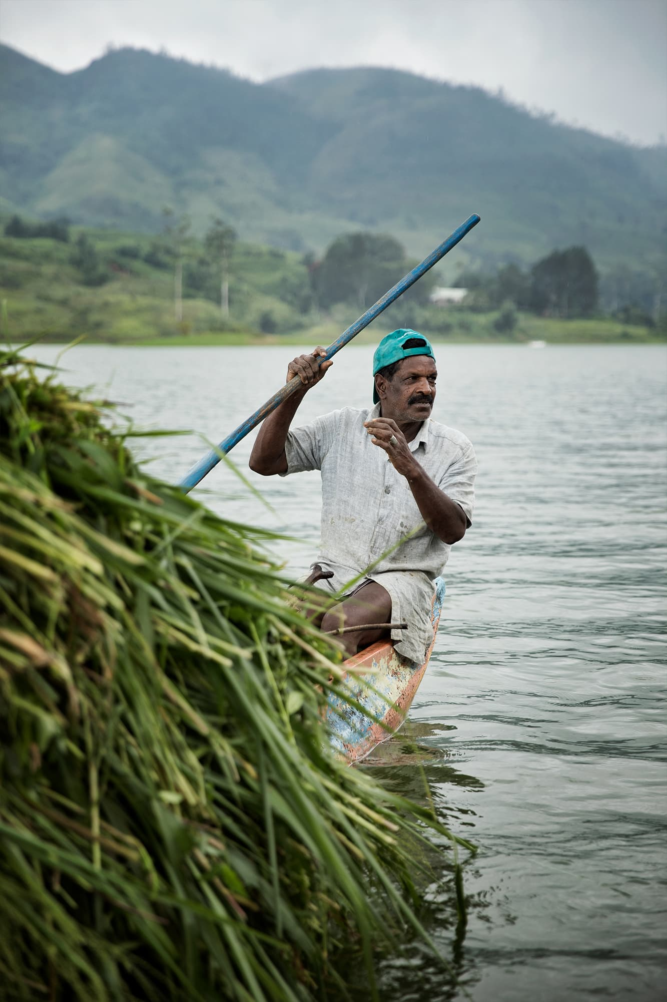 Man rowing in a lake in Sri Lanka