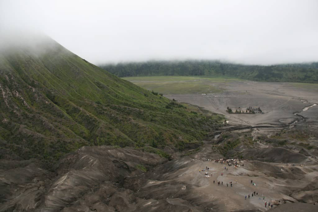 Looking across the Plateau from crater rim of Bromo