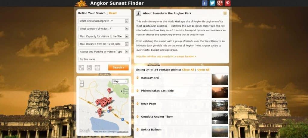 Angkor Sunset Finder