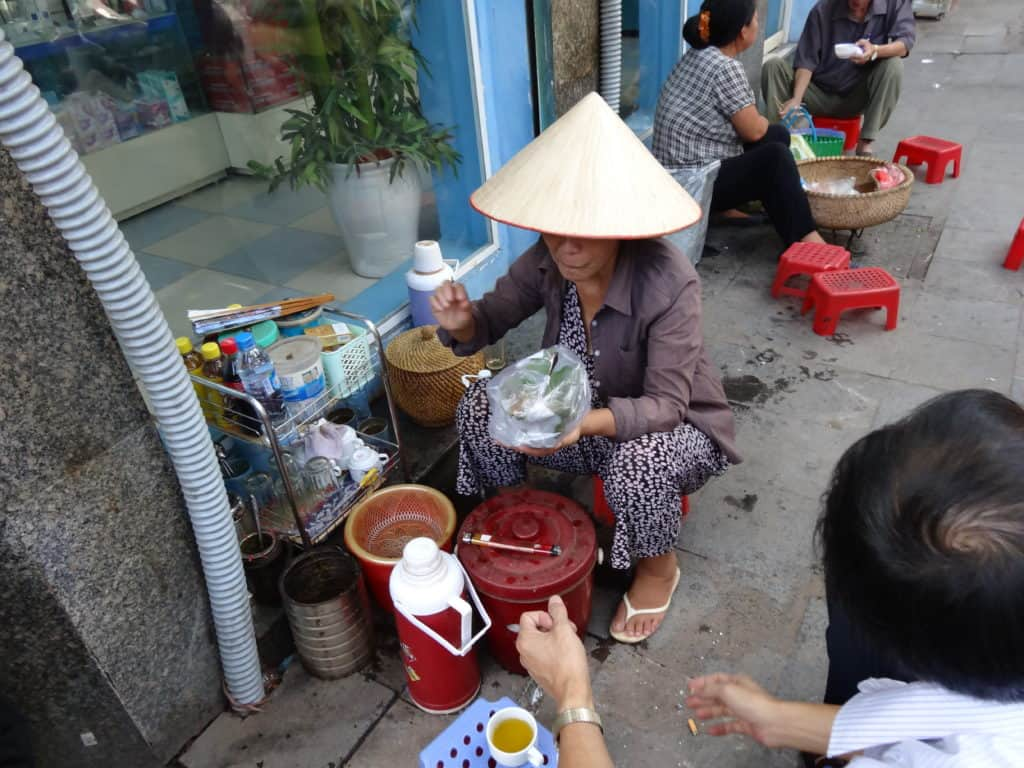 Pho (noodle soup) is eaten for breakfast, lunch and dinner and is available on almost every street.