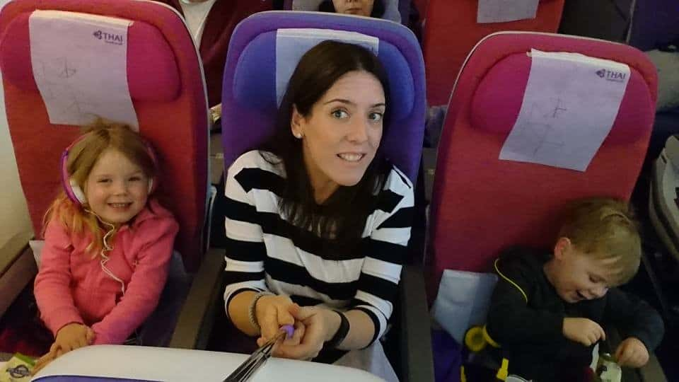 Product Director Melissa on a Thai Airways flight with her young children