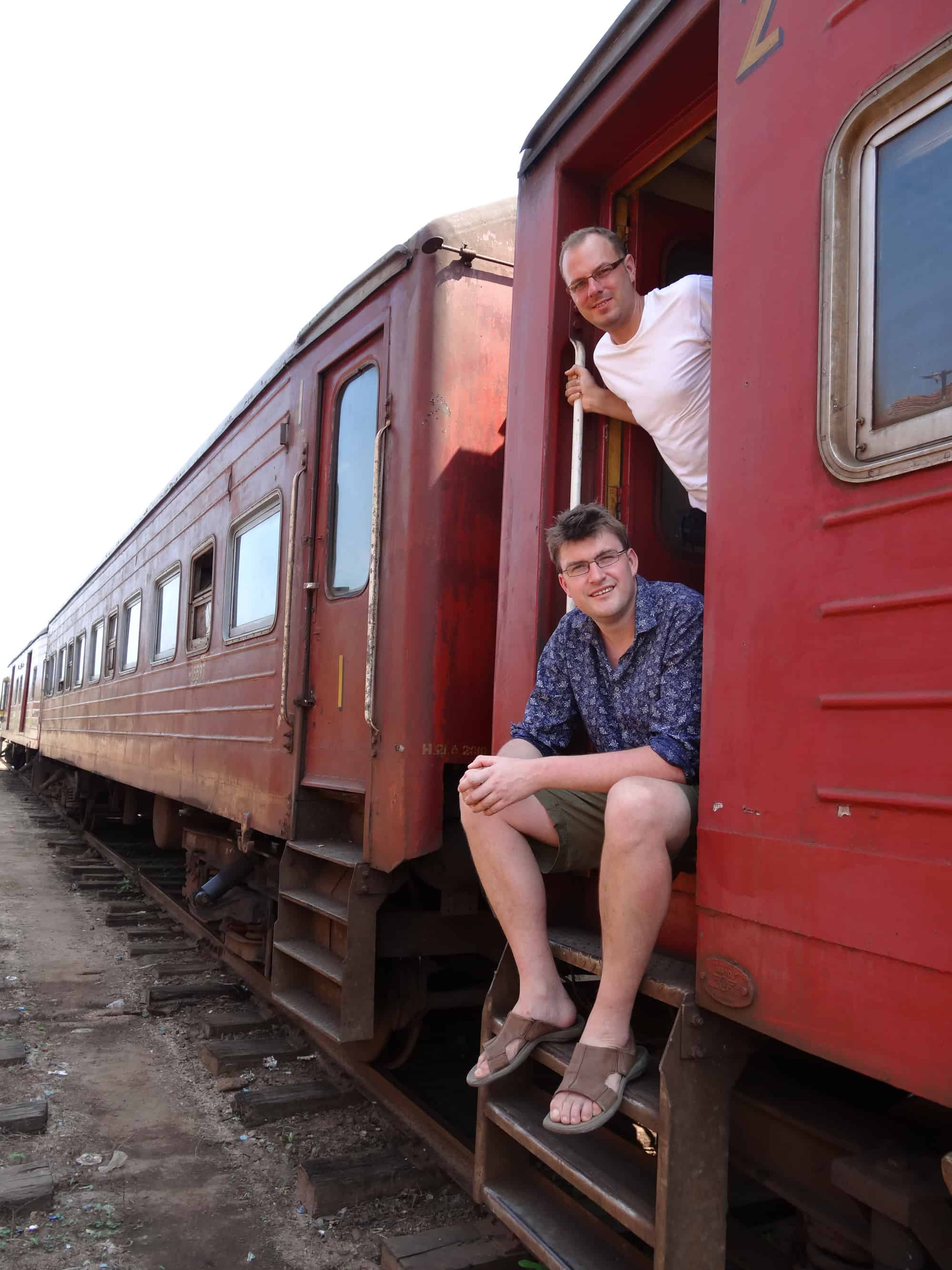 Experience Travel Group co-founders Sam Clark and Tom Armstrong in Sri Lanka on a train