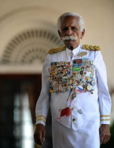 Kuttan - the world's eldest doorman when he died aged 91 years old in 2014.  He had worked for the Galle Face Hotel for 70 years.