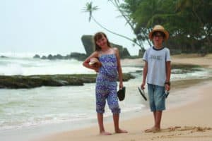 Milly and Alexander in Sri Lanka in 2015 - their mother was cross as she paid APD full them!