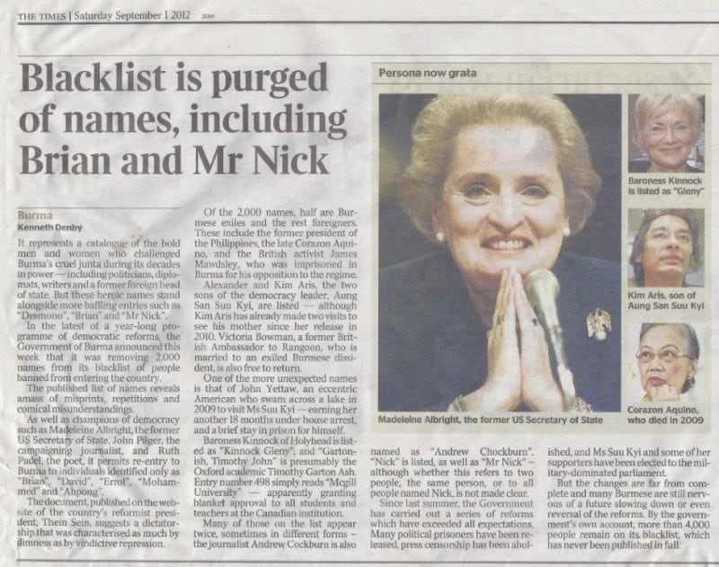Burma ban lift report in The Times