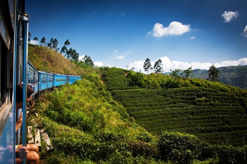 train from Nuwara Eliya to Kandy among tea plantations in the hi