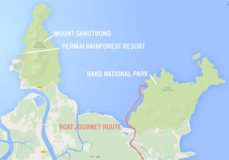 Map of the coast of Sarawak close to Kuching showing how you get to Bako National Park