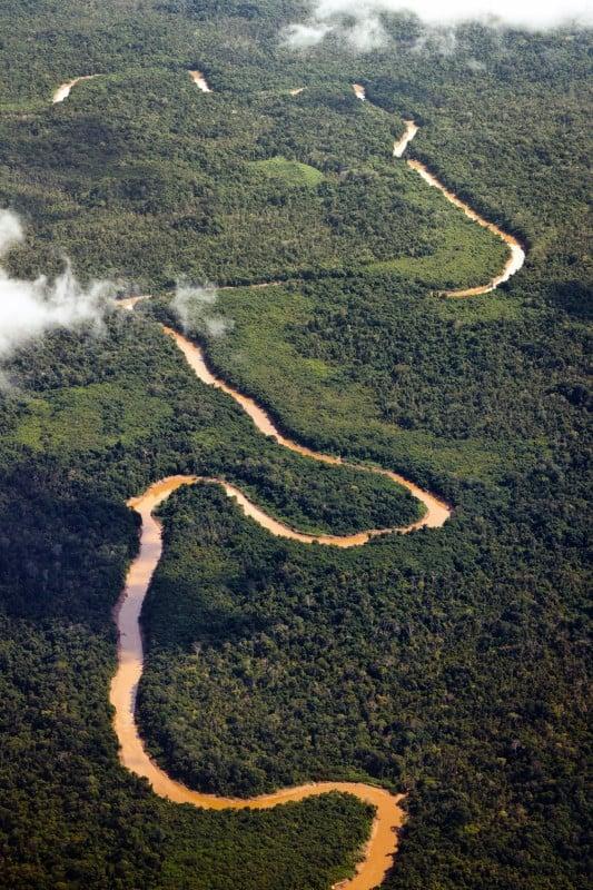 Aerial Photo of the Kinabatangan River in Sabah