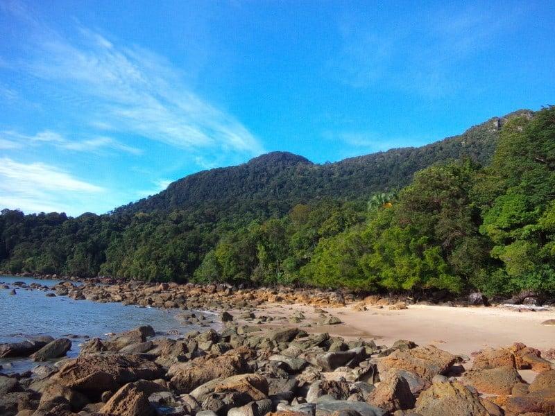 Permai rainforest resort beach close to Kuching in Mount Santubong in the background
