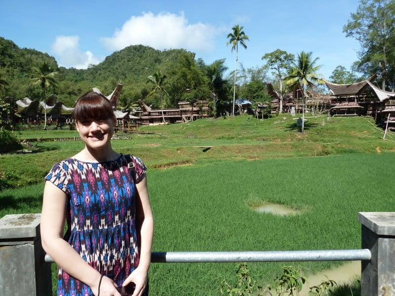 Tourist at a Toraja Village in Sulawesi