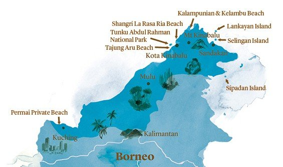A watercolour map of the key beaches of Borneo
