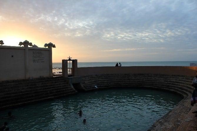 swimming sunset