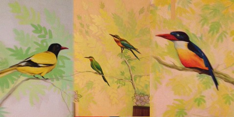 Bird paintings on the walls