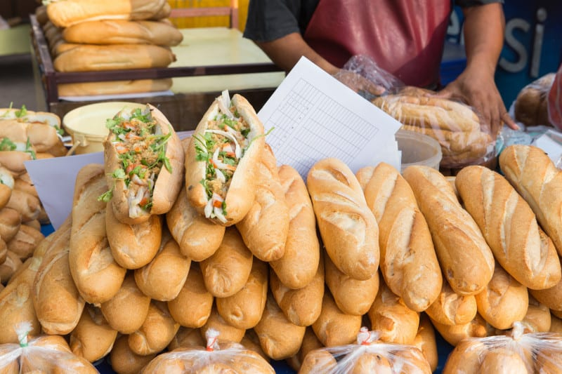 Khao Jee is a baguette and a culinary example of a long history of intermingling cultures of Indochina and France