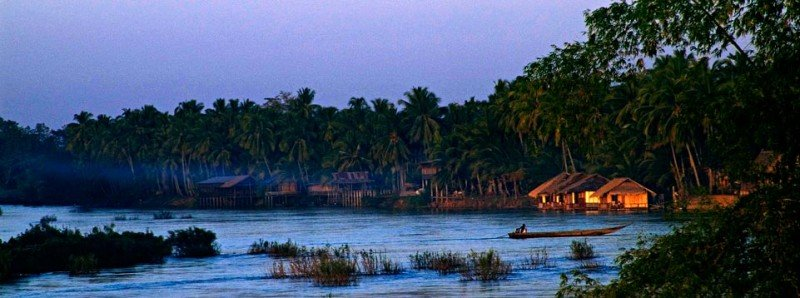 View of part of the 4000 island on the Mekong River in Laos bathed in dusk