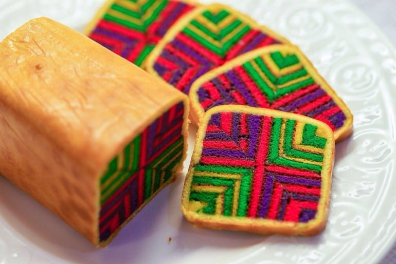 Sarawak layer cake with lots of colour