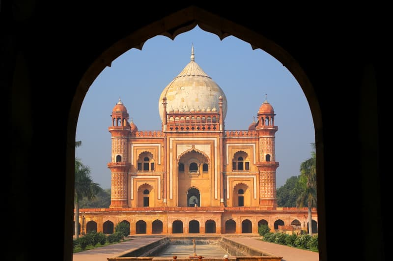 Tomb of Safdarjung seen from main gateway, New Delhi, India. It was built in 1754 in the late Mughal Empire style.