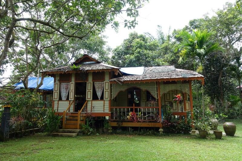 The traditional main house of Suka Suka Homestay in Malaysia