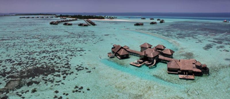 Birds eye view of Gili Lankanfushi with clear waters