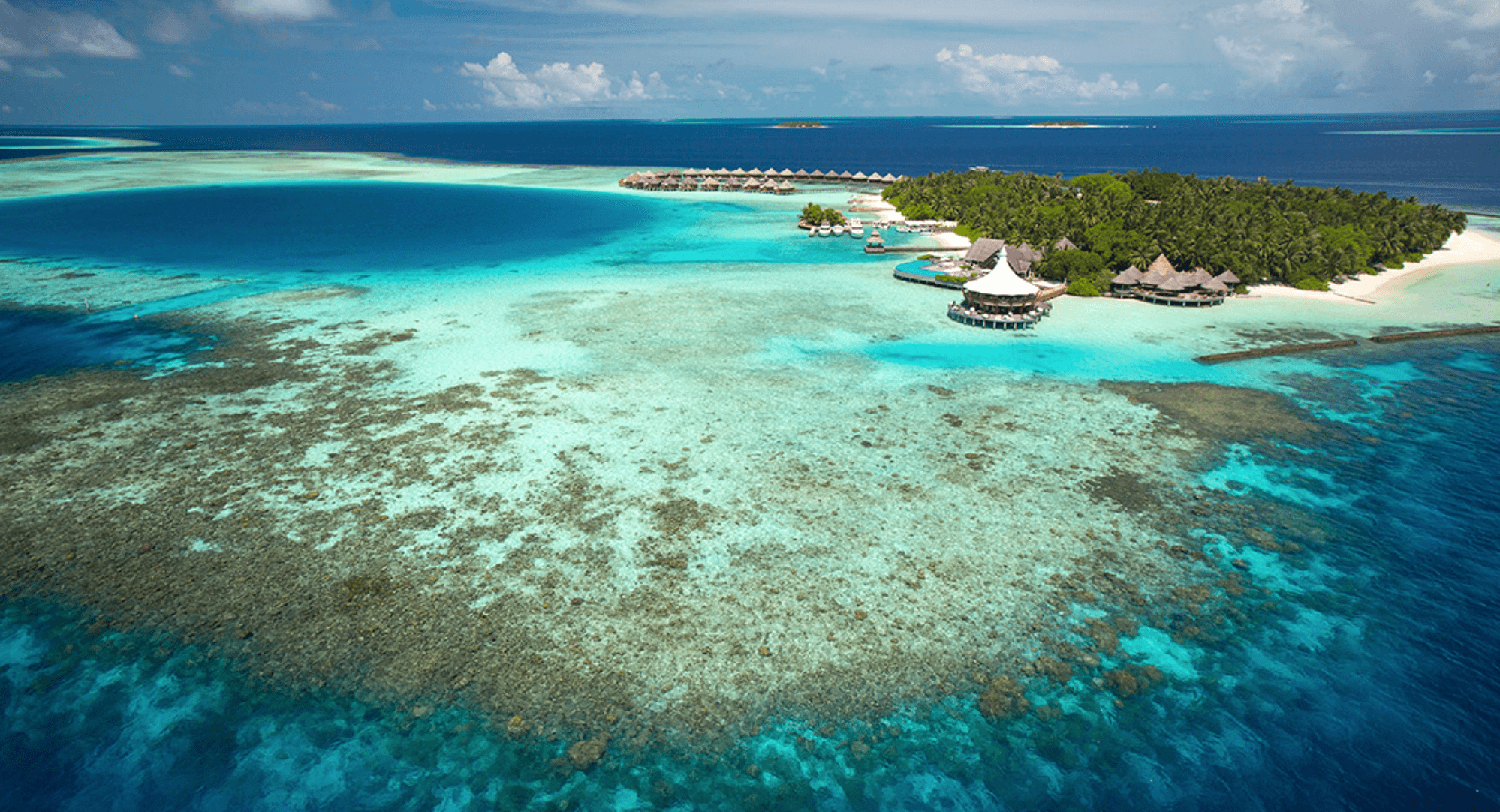 View of Baros resort and reef in The Maldives