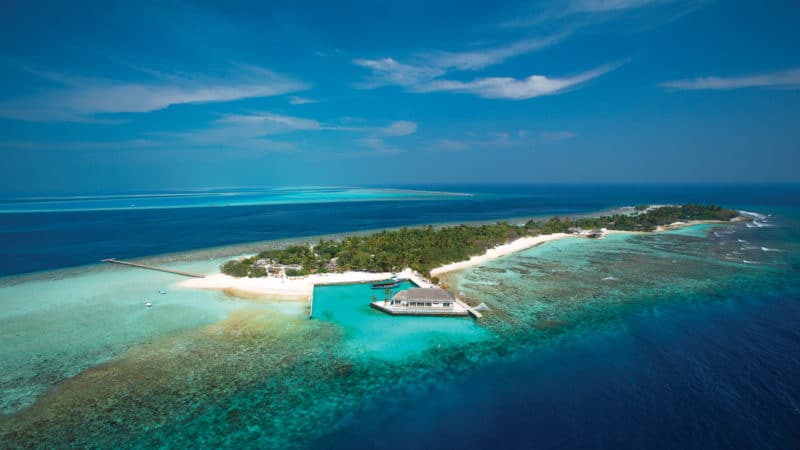 Aerial view of OBLU by Atmosphere resort in the Maldives