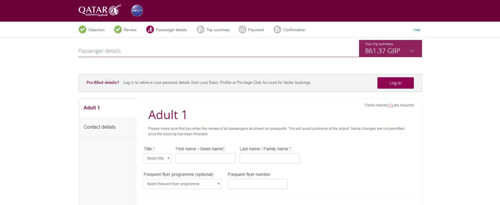 screen shot of Qatar airways passenger portal with personal details fields to be entered