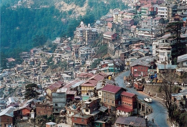 The steep hillside setting of famous Shimla with its winding roads