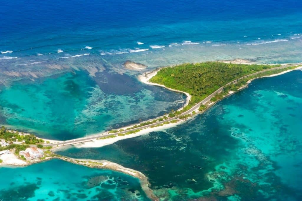 Birds eye view of Gan Island at the southern tip of the Maldives