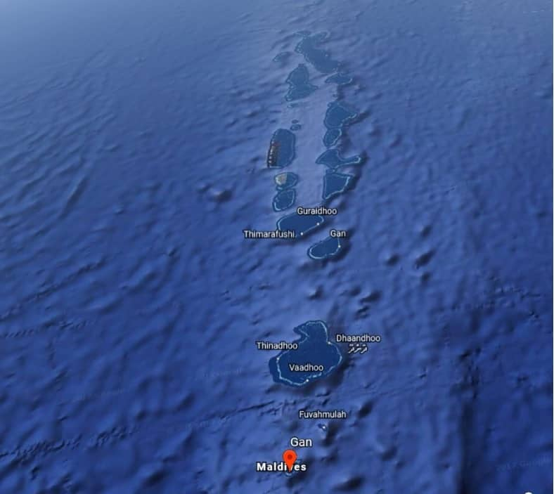 Map of the different atols in the Maldives