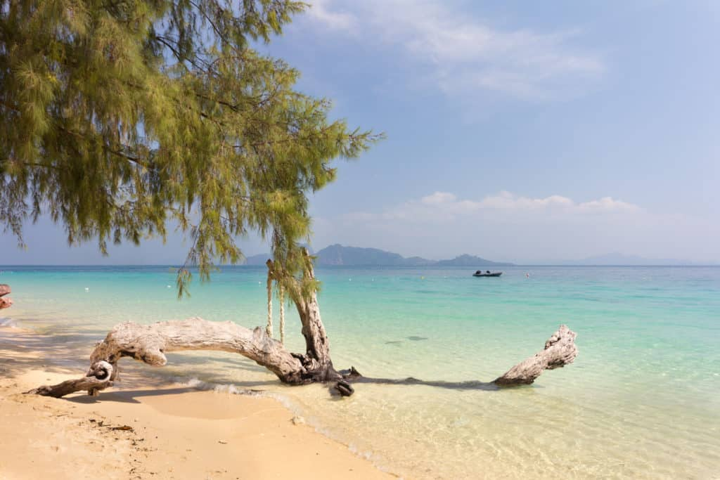 Tropical beach on Koh Kradan looking back onto the mainland of Thailand