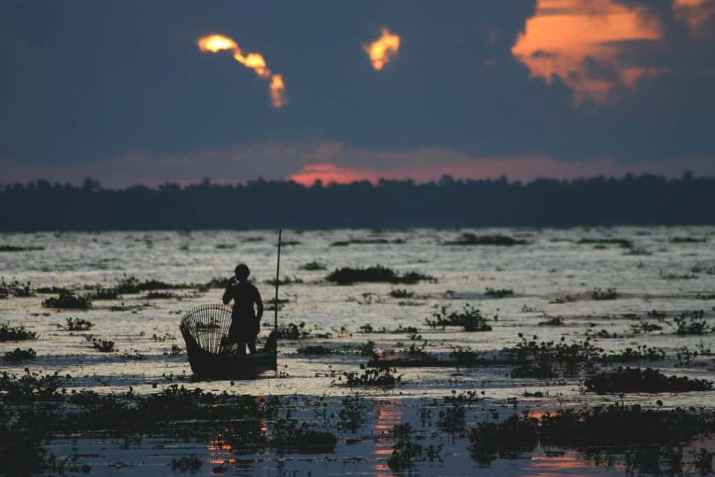 Sunset on lake vembanad in the central keralan backwaters with fisherman in the foreground