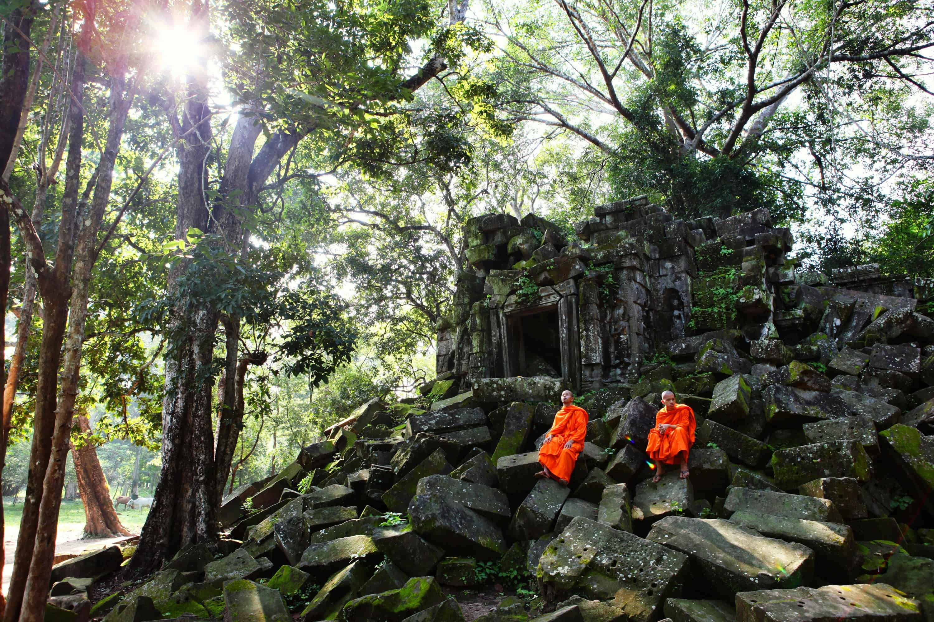 Orange robed Monks sitting on the stones in the ruins of the Beng Melea temple