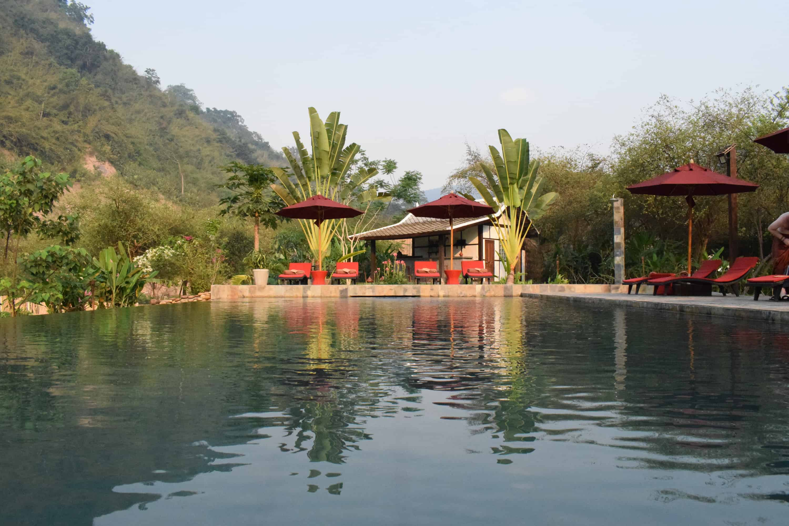 Swimming pool at Muang La Boutique Hotel in Laos