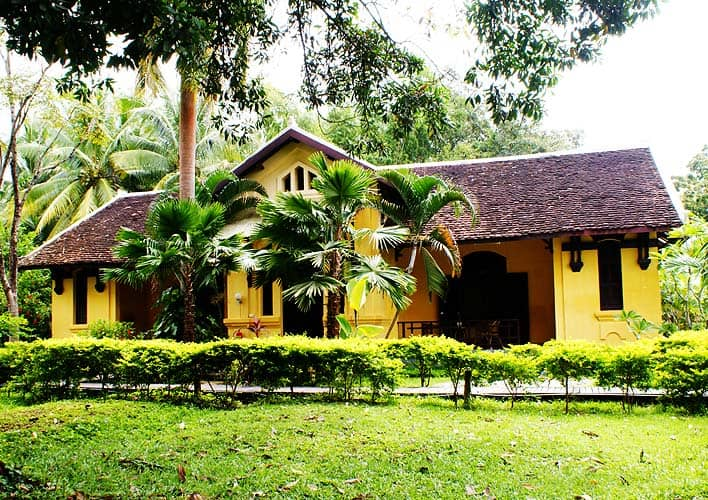 One of the french colonial buildings of Sala Don Khone in southern Laos