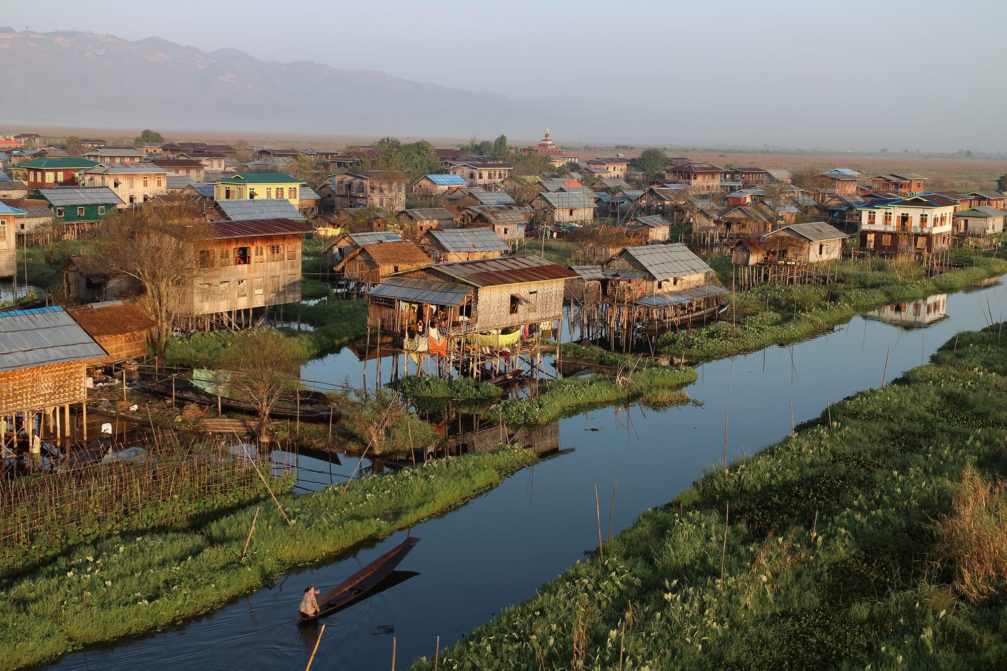 Stilted village on the edge of Inle Lake, Myanmar