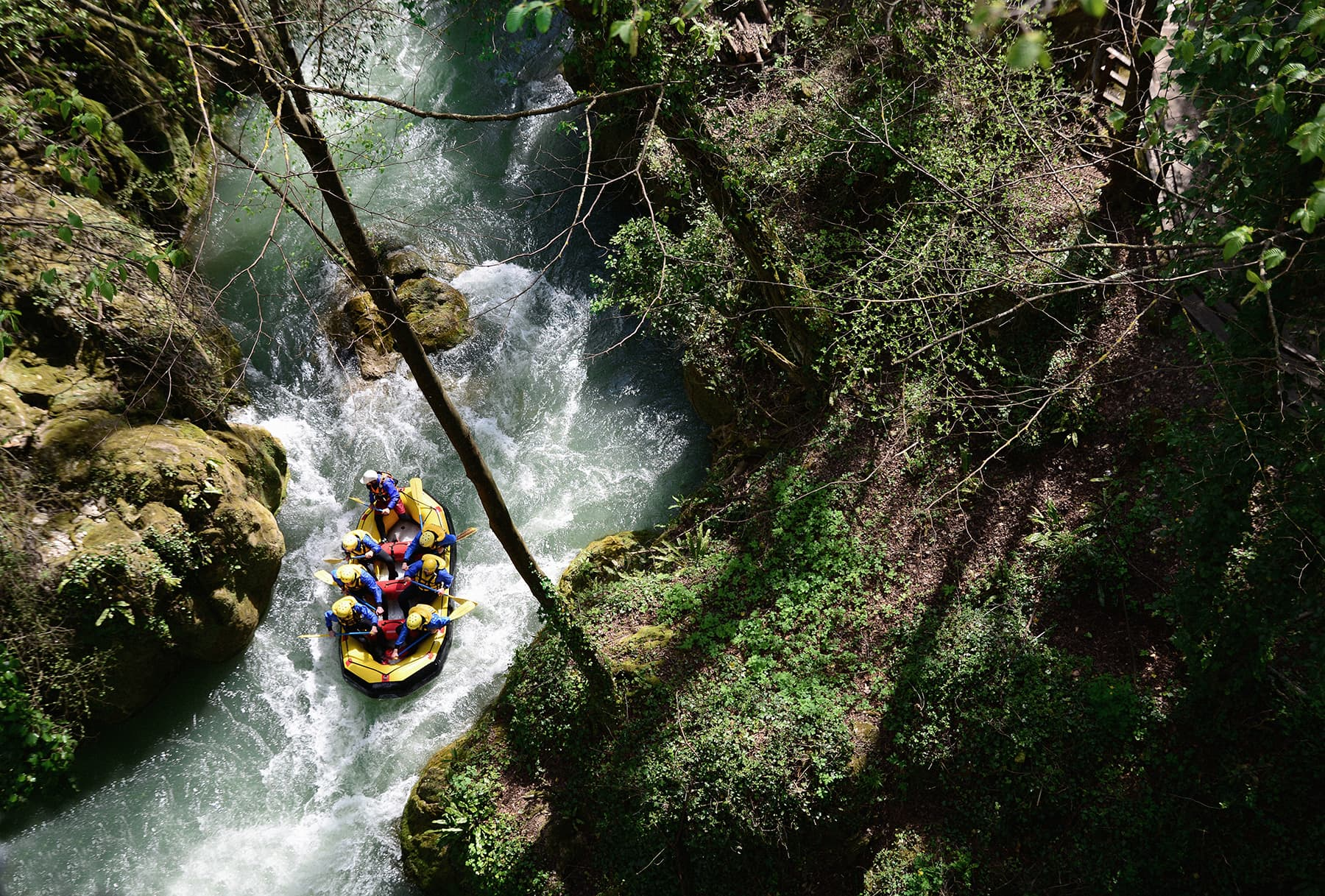 Whitewater rafting is a unique river experience in Asia
