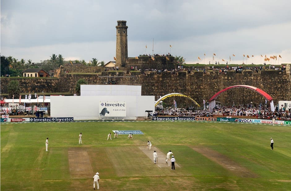 Galle International Stadium and the ramparts of Galle fort