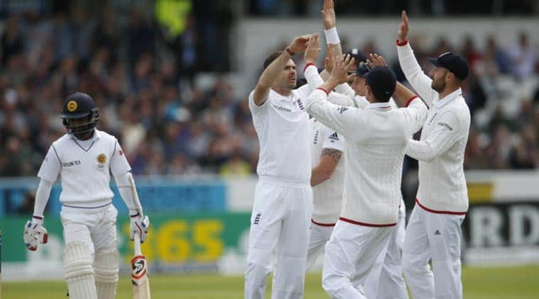 James Anderson celebrating a wicket for the England cricket team
