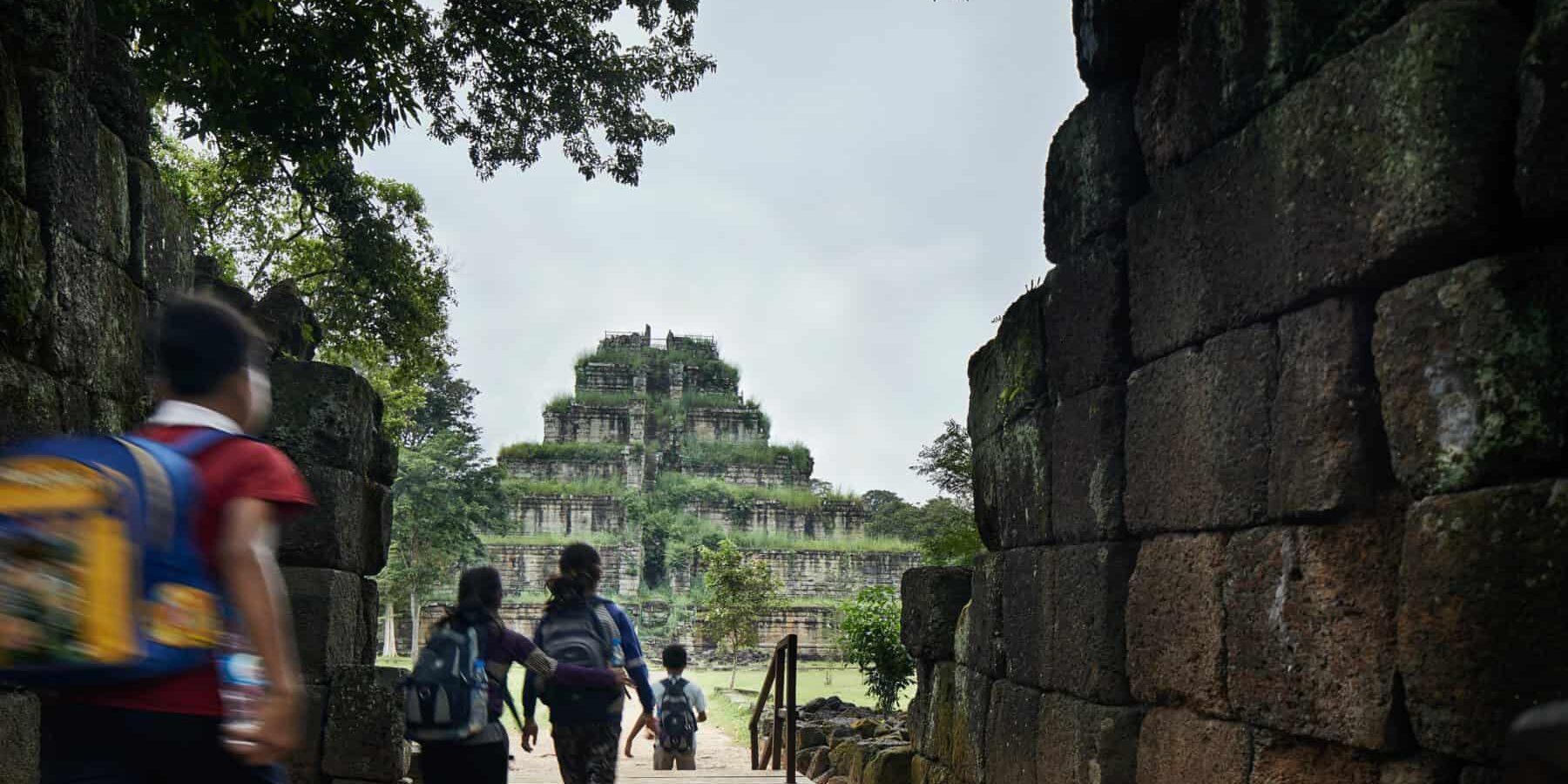 School children visiting Koh Ker temple in the vast temple of angkor complex