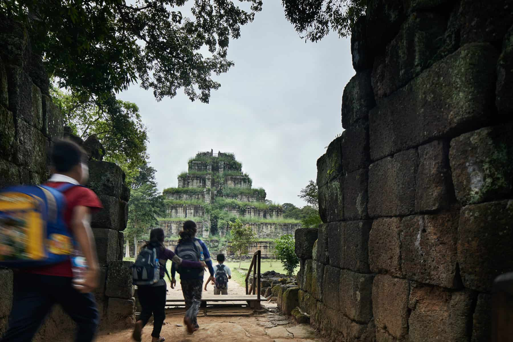School children visiting Koh Ker temple in the vast temple of angkor complex