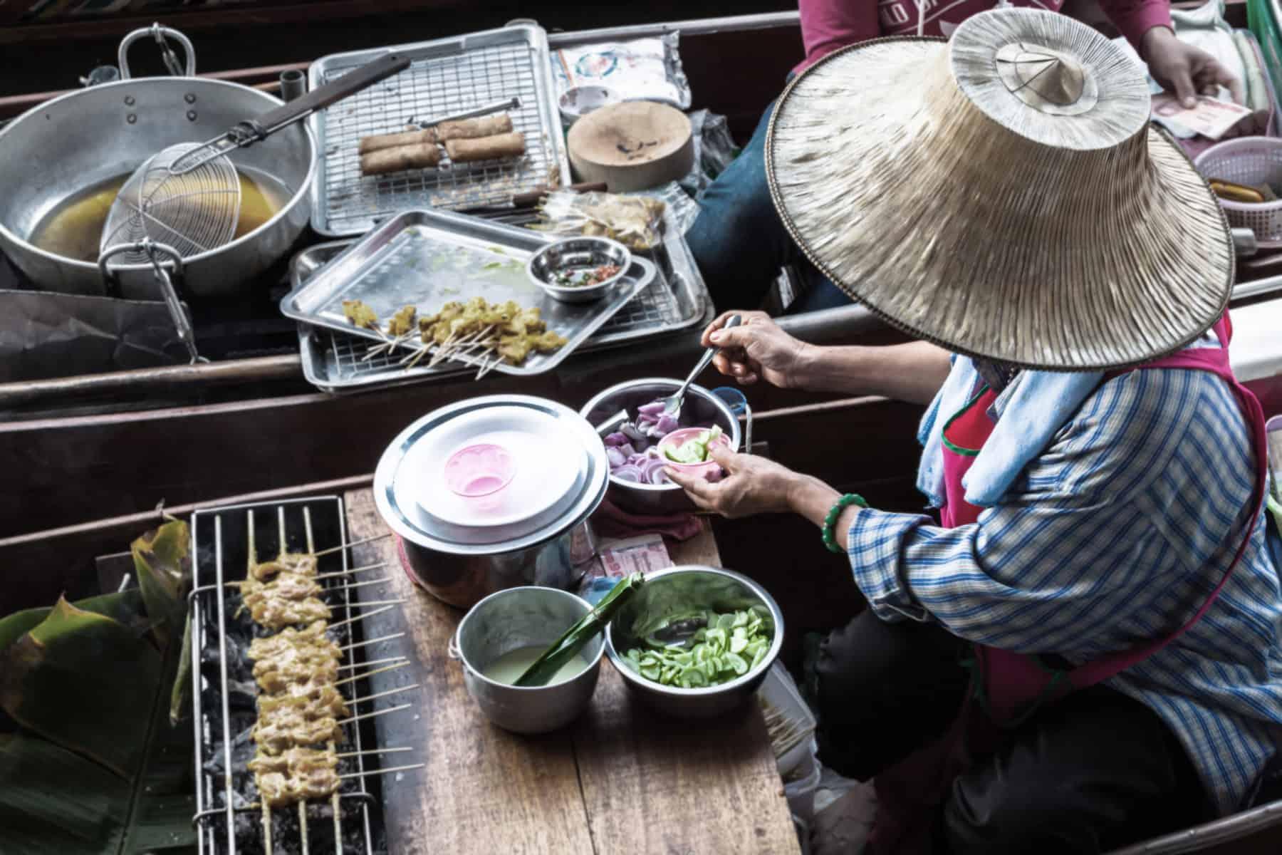 Food in Damnoen Saduak Floating Market near Bangkok, Thailand