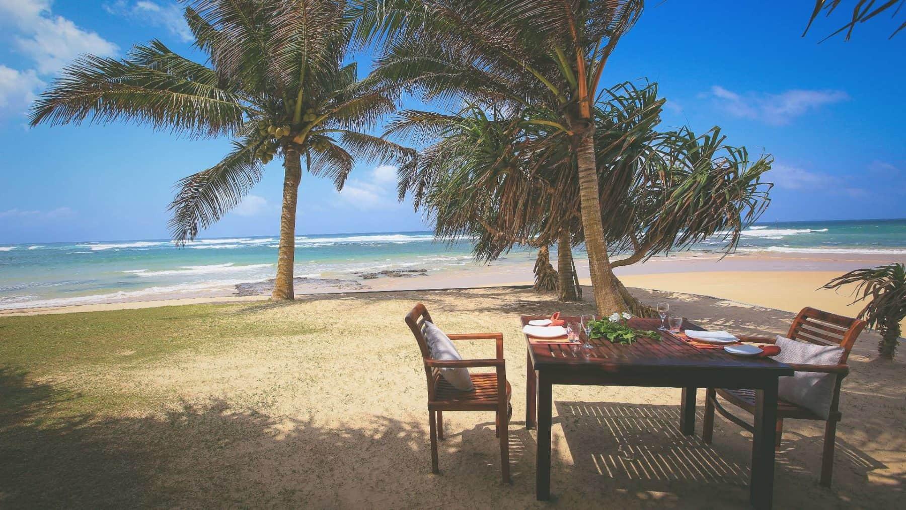 Dining table on south point villa beach