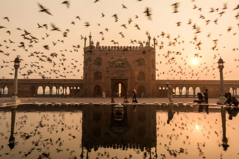 Jama Masjid at sunrise in Delhi, Northern India