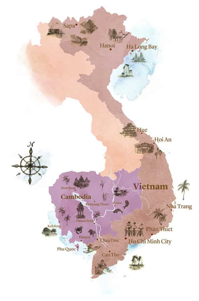 Watercolour map of Vietnam and Cambodia with small illustrations of key places