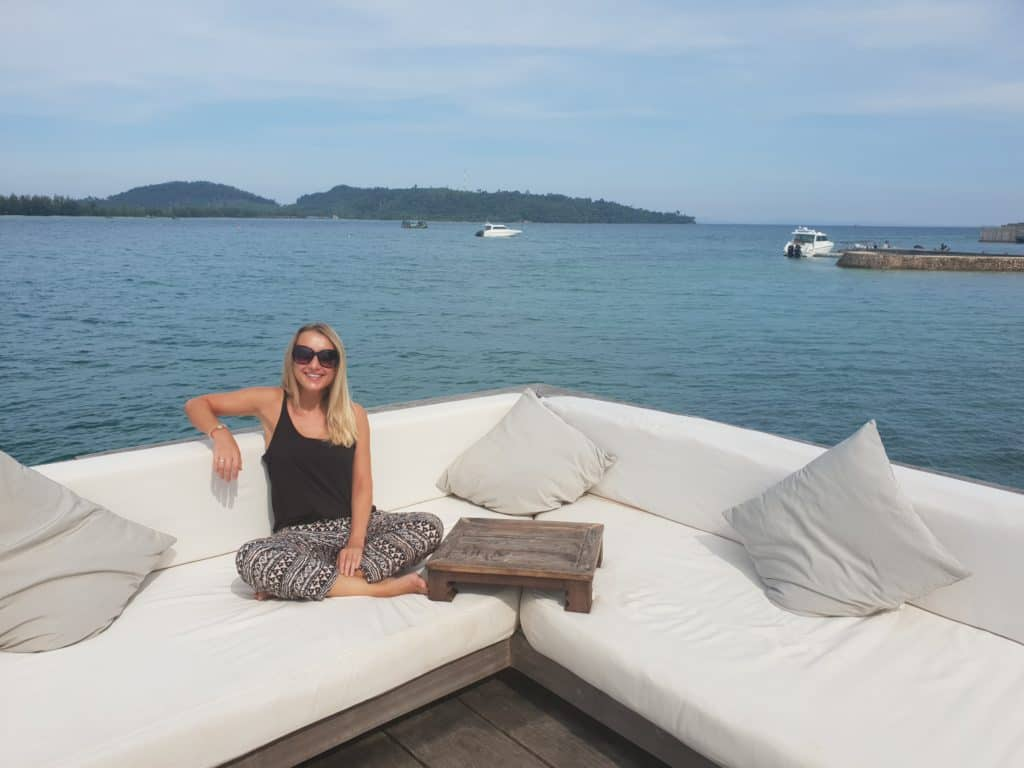 Travel Consultant Holly enjoying the views of the Koh Rong Archipelago