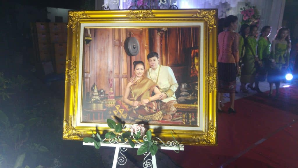 Bride and Groom in a picture at a lao wedding in luang prabang