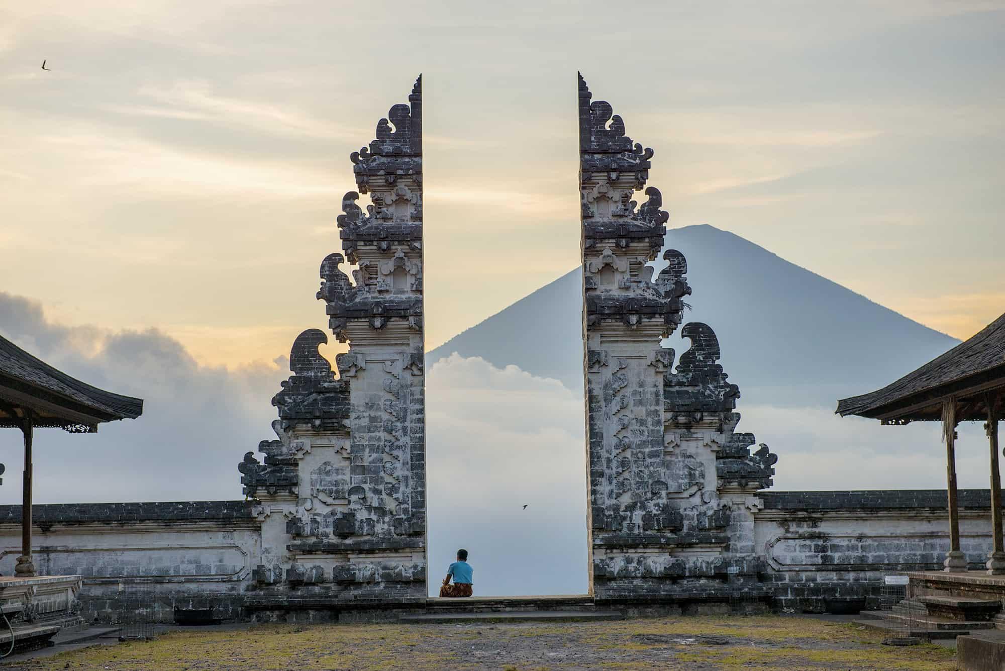 Pura Lempuyang Temple with volcano in Bali